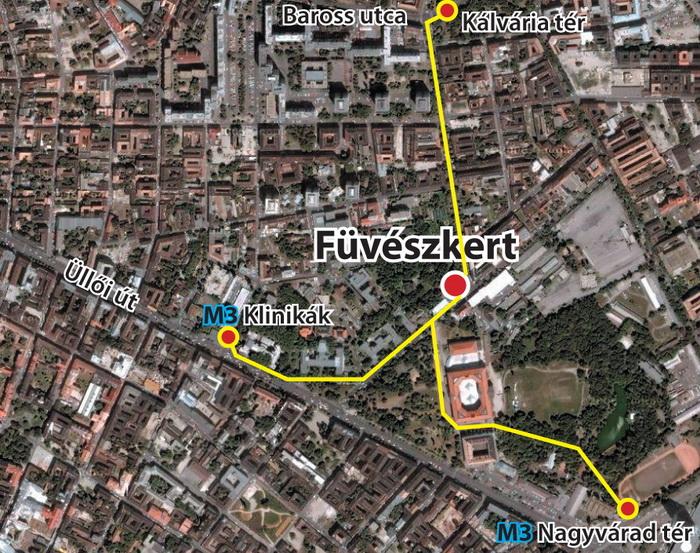 Füvészkert térkép